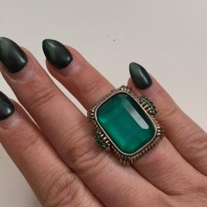 Vintage emerald style bead statement ring